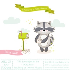 Baby shower or arrival card - baby racoon girl vector