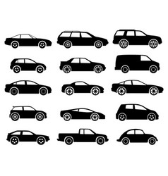 black auto icon set on white vector image