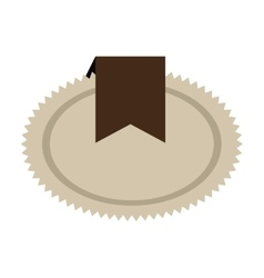Brown seal stamp with ribbon decoration vector