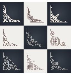 Calligraphic design elements vintage corners set vector