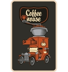 Car and coffee grinder vector