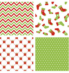 christmas seamless patterns chevron stockings vector image vector image