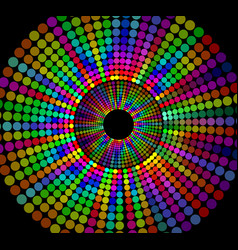 circle shape composed of rainbow dots on black vector image