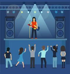 concert pop group artists on scene music stage vector image vector image