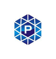 diamond initial p vector image
