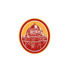 Dome of florence cathedral front woodcut vector