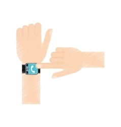 Drawing hand touchscreen smart watch phone vector