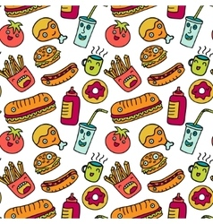 Fast food seamless background Funny cartoon vector image