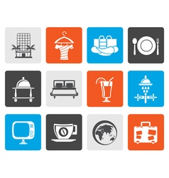 Flat hotel motel and holidays icons vector