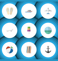 Flat icon summer set of wiper aircraft ship hook vector