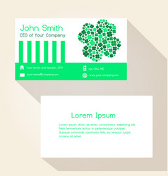 Green cloverleaf abstract business card design vector