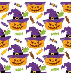 Halloween Pumpkin Seamless Pattern vector image