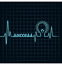 Heartbeat make success word and light-bulb vector