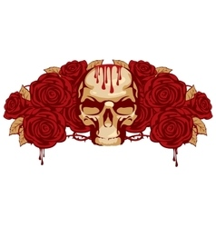 Human skull and rose vector