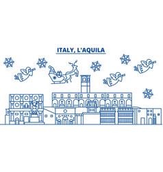 Italy laquila winter city skyline merry vector