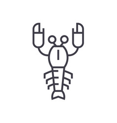lobster line icon sign on vector image