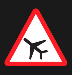 low flying aircraft sign flat icon vector image vector image