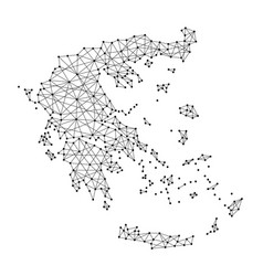 Map of greece from polygonal black lines and dots vector