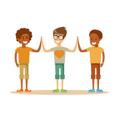 Mixed-race pupils giving each other a high five vector