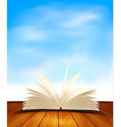 Open book on a wooden floor in front of a blue vector image vector image