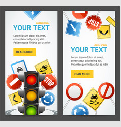 Road sign drive school flyer banner posters card vector