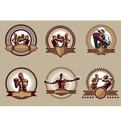 Set of combative sport icons or emblems vector image