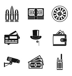 Shooting range icons set simple style vector