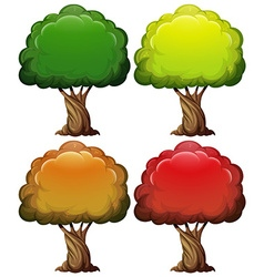 Tree with color leaves in four seasons vector image vector image