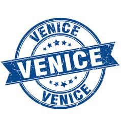 Venice blue round grunge vintage ribbon stamp vector