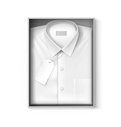 White classic men shirt with label in packaging vector image