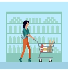 Woman in supermarket vector