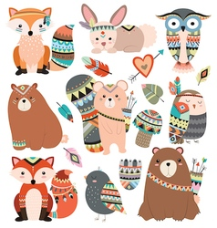 Woodland Tribal Animals and Forest Design Elements vector image