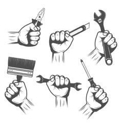 Work Tools In Hands Set vector image vector image