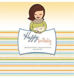 Young girl with she special gift vector