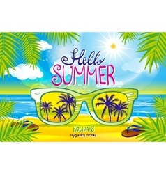 Summer blurred beach with sunglasses vector
