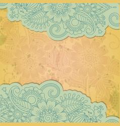 Floral henna indian mehendi grunge background vector image