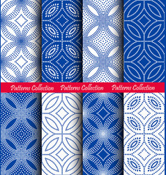 White blue dots floral patterns backgrounds vector