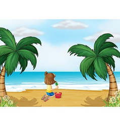 A little girl playing at the beach alone vector