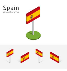 Kingdom of spain flag set of 3d isometric icons vector