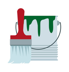 Paint brush and bucket can construction vector