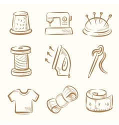 sewing icon set vector image
