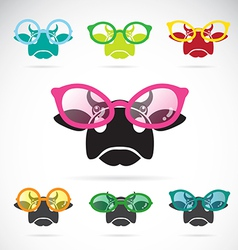 Images of cows wearing glasses vector