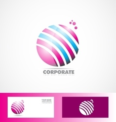 Sphere 3d pink blue logo vector