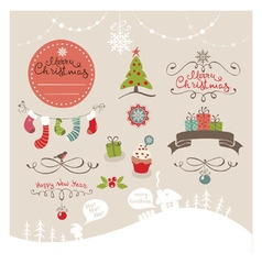 Set funny design elements for Christmas vector image