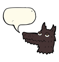 Cartoon wolf head with speech bubble vector