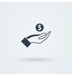 icon with hand holding the coins and credit vector image