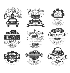 Mechanic workshop vintage stamp collection vector