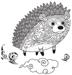 hedgehog cute coloring vector image
