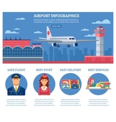 Airport Infographics Design Template vector image