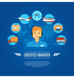 Logistics manager concept icons vector